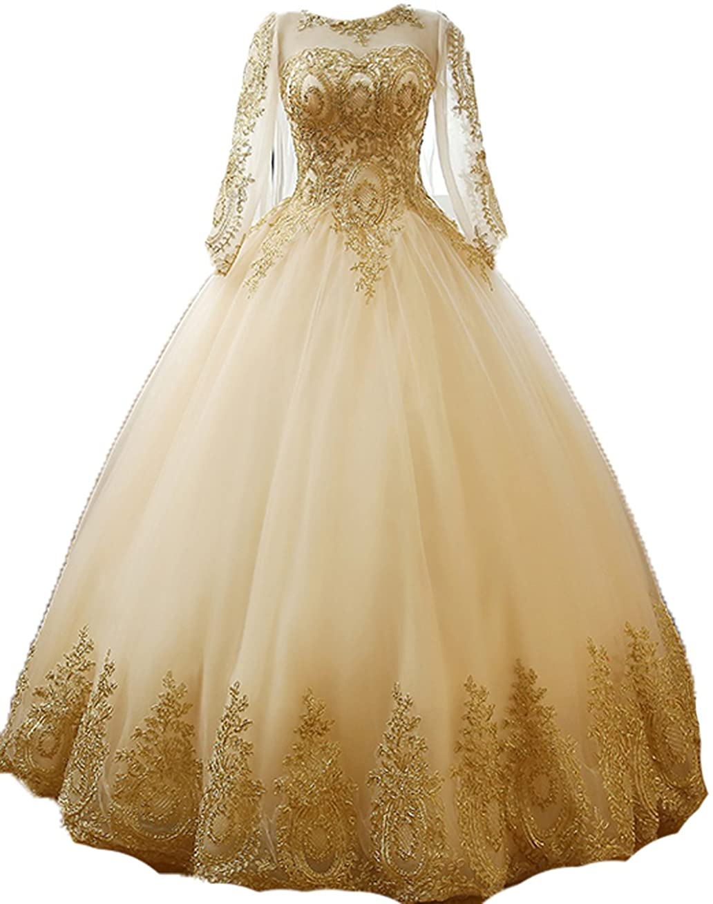 BessDress Gold Lace Appplique Quinceanera Dresses Long Sleeves Prom Ball Gown BD389