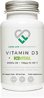 Vitamina D3 + K2 (MK-7) por LLS | 3000iu D3 + 100μg K2VITAL® K2 MK-7 | Incluye MCT Powder | Love Life Supplements