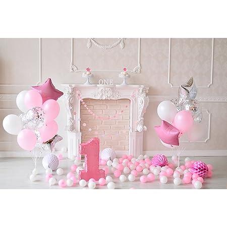 Bestoyard Fotografie Hintergrund Baby 1 Geburtstag 3d Cartoon Ballons Wimpel Torten Wand Foto Studio Requisiten Für Mädechen Kindergeburtstag Rosa Küche Haushalt