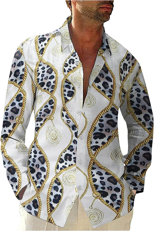 WOCACHI Hawaiian Shirts for Mens, Button Down Boho Leaves Print Long Sleeve Shirt Holiday Beach Loose Casual Tops