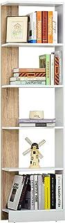 HOMCOM Estantería de Almacenaje con 5 Estantes Librería Multiusos para Estudio Oficina con Base Elevada Diseño Elegante 45...