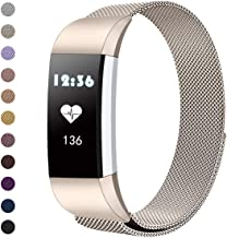 Tanyl Band Compatible with Fitbit Charge 2 Bands, Stainless Steel Metal Magnetic Clasp Mesh Loop Bracelet Strap/Watch Band for Fitbit Charge 2 HR, Women Men Black Rose Gold Purple Small Large