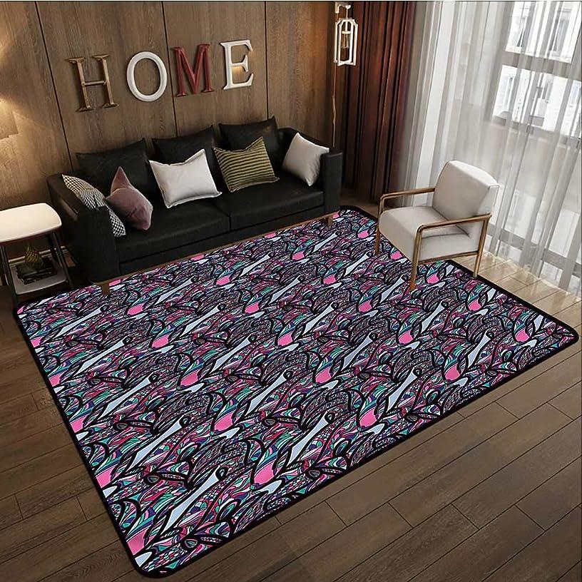 Kids Rug Abstract Dreamlike Vibrant Anti-Slip Doormat Footpad Machine Washable 5'6