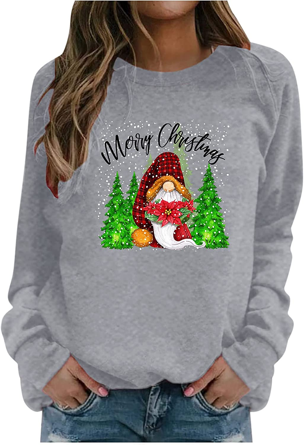 Christmas Gnome Shirts for Women Plus Size Crewneck Pullover Santa Claus Graphic Casual Holiday Sweatshirts Fall Tops
