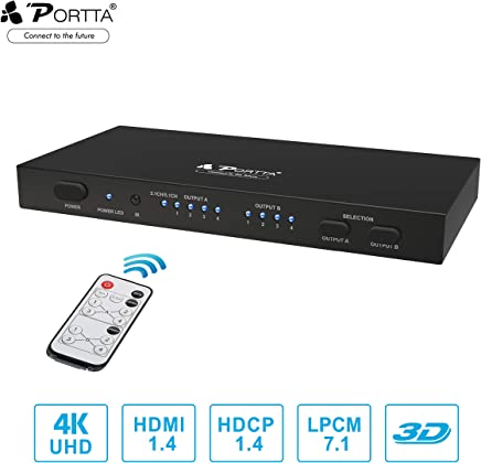 Portta HDMI Matrix 4x2 Port Matrix/Switch/Splitter with Remote Audio CH2.0/CH5.1 SPDIF L/R 3.5mm HDMI Audio Extractor V1.4 Support Ultra HD 4K x 2K@30Hz Full 3D for PS3 /PS4/XBOX360/DVD Player/Notebook and More