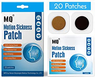 Motion Sickness Patch - 20 Pack - Works to Relieve Vomiting, Nausea, Dizziness & Other Symptoms Resulted from Sickness of Cars, Ships, Airplanes, Cruise, Trains & Other Forms of Transport Movement.