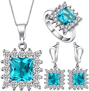 VPbao Necklace Earrings Ring Jewellery Set Square Cubic Zirconia Sets Blue