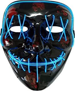 LED Purge Mask Light up Halloween Mask Scary Masks for Adults & Kids, 3 Flash Modes, Party Favors