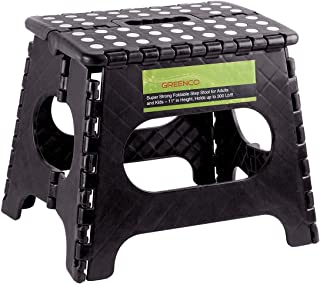 """Greenco Super Strong Foldable Step Stool for Adults and Kids, 11"""", Black"""