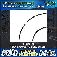Athletic Marking Stencils - 36 inch Basketball Court Stencil Set - 36