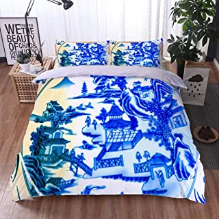 HOOMORE Bed Comforter - 3-Piece Duvet -All Season, Old Chinese Ceramic Plate Panjuan Flea Market Beijing China,HypoallergenicDuvet-MachineWashable -Twin-Full-Queen-King-Home-Hotel -School