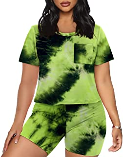 Womens 2 Piece Outfits Sets Loose Crop Tops and Bodycon Shorts