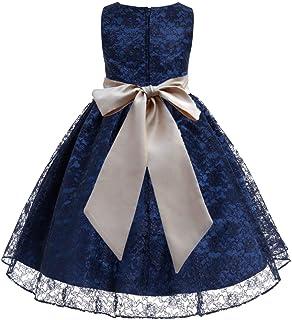 8d1d7bb65 ekidsbridal Navy Blue Floral Lace Overlay Junior Flower Girl Dress  Christening Dress 163S