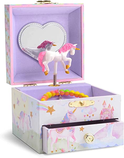 JewelKeeper Musical Jewelry Box With Spinning Unicorn Glitter Rainbow And Stars Design The Unicorn Tune