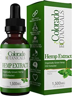 Hemp Oil Extract 1,500mg – Hemp Oil for Pain, Stress Relief, Mood Support, Improve Sleep, Skin Care, Depression (1,500mg, 50mg per Serving x 30 Servings) – Rich in Omega 3, 6, 9 Fatty Acids