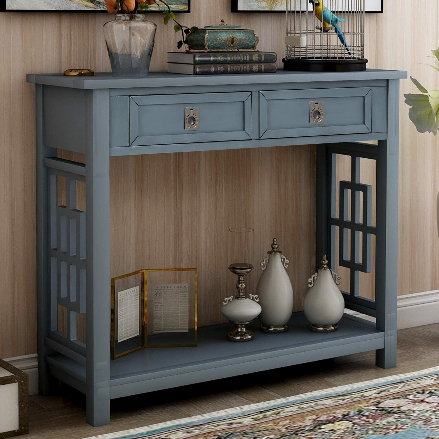 Console Outlet Max 48% OFF SALE Sofa Table with 2 Drawers and Acc Shelf Bottom Entryway