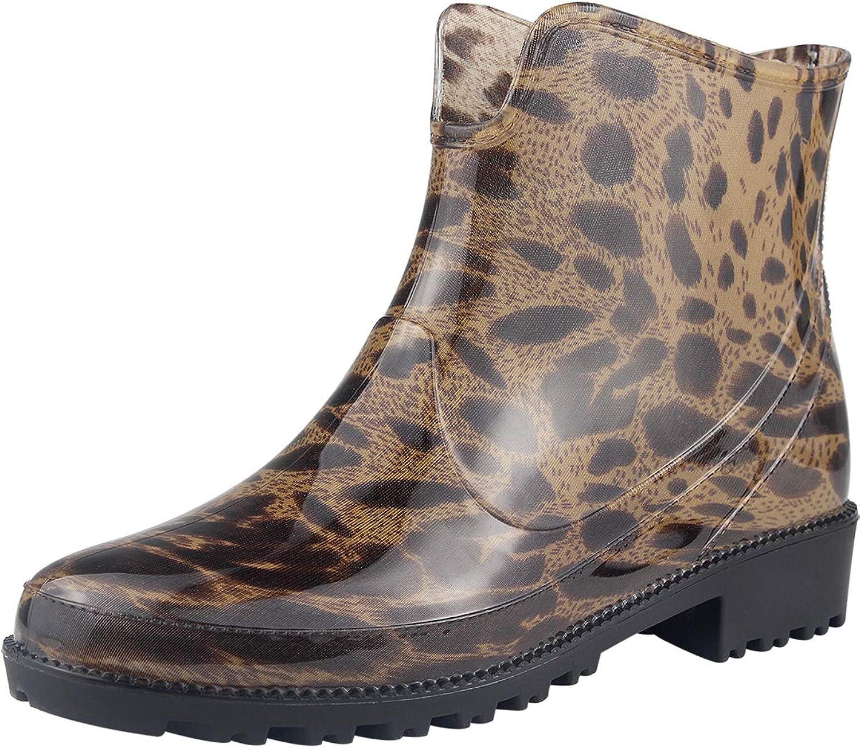 Sekesin Women's Waterproof Shiny Short Ankle Chelsea Slip On Rubber Rain Boots