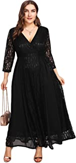 Women's Plus Size High Waist Lace Overlay Maxi Evening Dresses