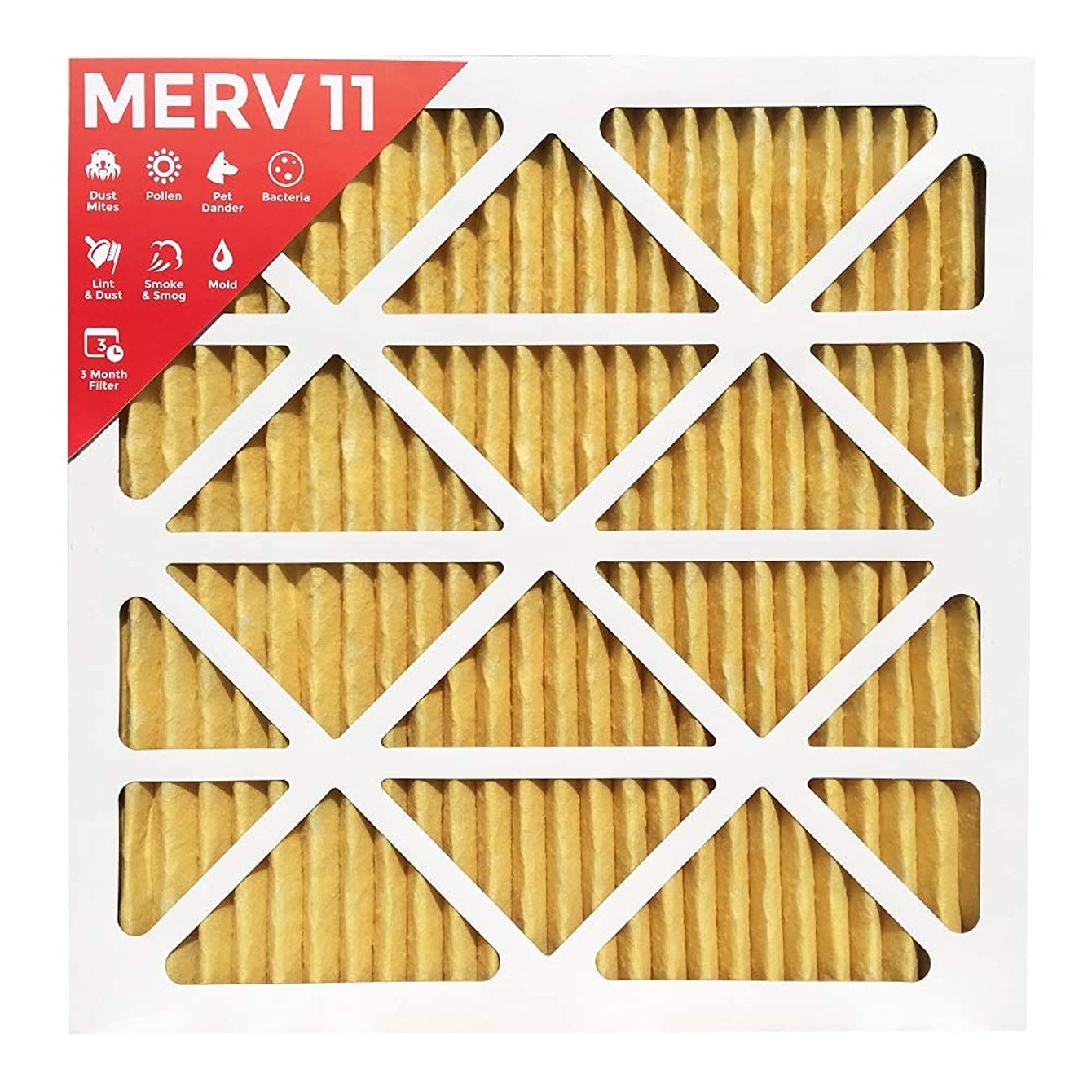 20x22x1 MERV 11 (MPR 1000) Pleated AC Furnace Air Filter - 6 Pack (Actual Size: 19-1/2