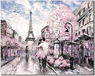 Renaiss 16x12 Inches City Buildings Oil Painting Sweet Lover in The Street of The Paris Eiffel Tower Canvas Prints House Wall Decor Hall Coffee Bedroom Kitchen Artworks Frameless Rolled Package