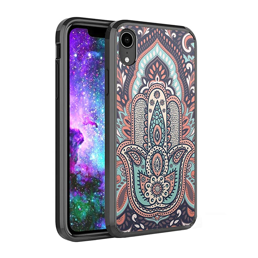Capsule Case Compatible with iPhone XR [Hybrid Slim Back Shield Fused TPU Edge Bumper Case Black] for iPhone XR 2018 - (Hamsa)