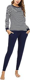 Doaraha Pijamas Algodón para Mujer Estampado de Rayas Ropa de Dormir Camiseta Manga Larga con Pantalones Larga Puño Elásti...