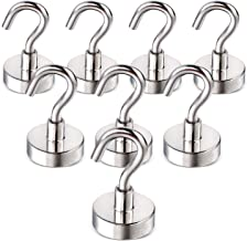 EWUY Heavy Duty Magnetic Hooks for Hanging BBQ Grill Tools Coats Pot Holders Oven Mitts 30LBS Lightweight Metal Magnet Hooks Black 10PCS