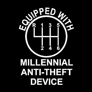 Equipped with Millennial Anti-Theft Device Decal, Millennial Stickers (H 8 by L 6 Inches, White)