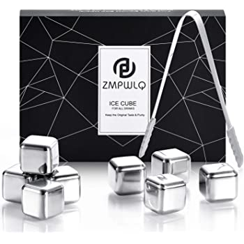Ice-Cubes-Reusable, 8-PCS Stainless-Steel-Ice-Cubes Whiskey-Stones with Non-Slip Ice Tongs, Chilling-Stones Ice-Cubes Gift Set Chilling Ice-Cubes for Whiskey Wine Drinks with Freeer Storage Box