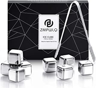 PL ZMPWLQ Stainless-Steel-Ice-Cubes, Reusable-Ice-Cubes Whiskey-Stones with Ice Tongs & Freezer Storage Tray Chilling-Ston...