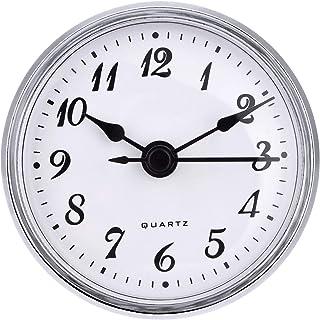 Hicarer 2.8 Inch/ 70 mm Quartz Clock Insert Gold Trim Arabic Numeral Quartz Movement (Silver Trim)