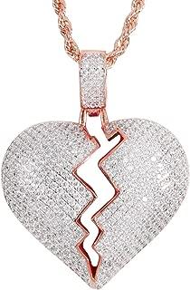 iced out broken heart pendant