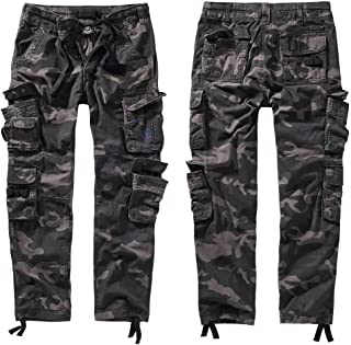 Brandit Pure Vintage Trouser II Men Cargo Trousers Dark camo S, 100% Cotton, Cargo Pants
