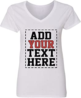 Custom V Neck T Shirts for Women - Make Your OWN Shirt - Add Your Number Text Printing
