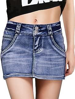 DELUXSEY Womens Denim Skirt Mini - Summer Pencil Skirts for Women - Short Skirts