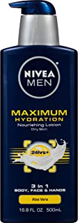 NIVEA Men Maximum Hydration 3-in-1 Nourishing Lotion – Body, Face, Hands –..