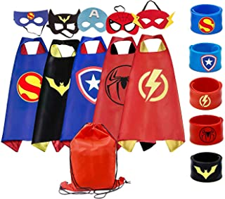 RioRand Superhero Capes Set and Slap Bracelets, for Boys & Girls Costumes, Birthday Party,Gifts. Kids Dress Up (5 pcs)