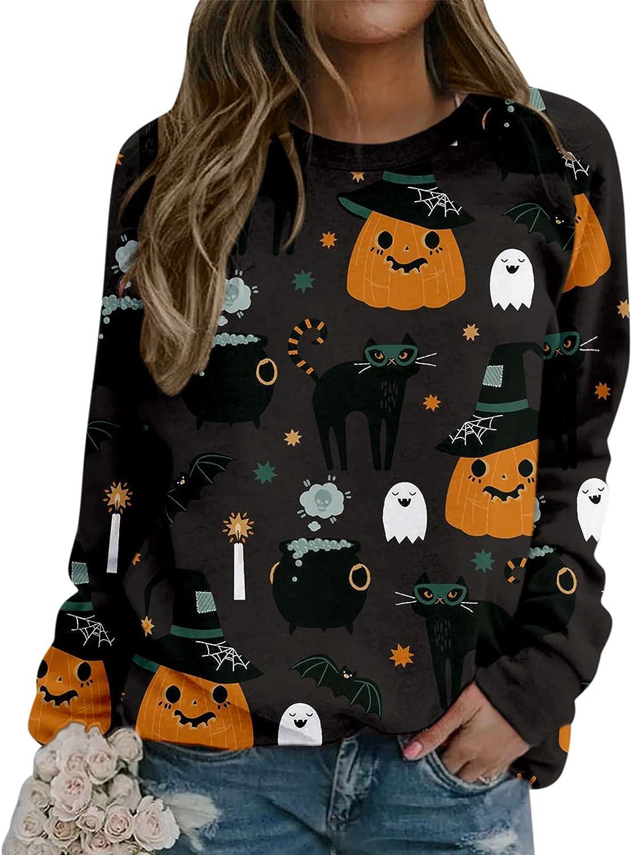 Eoailr Halloween Sweatshirt Women Super intense SALE Fit Loose Crewneck Sweatshirts Genuine Free Shipping