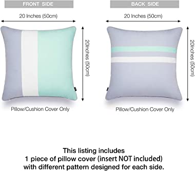 Hofdeco Outdoor Patio Decorative Throw Pillow Cover ONLY Weather Water Resistant Canvas Color Block Aqua Opal Blue Grey White