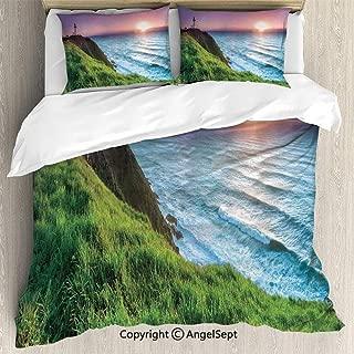 SfeatruAngel Bedding 3-Piece Set Duvet Cover Set,Byron Bay Lighthouse During Sunrise Nature Hill Dawn Sunbeams Scenic Seashore,King Size,Soft Microfiber Wrinkle Fade