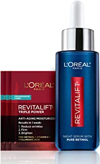 Retinol Serum for Face, L'Oreal Paris Revitalift Derm Intensives Night Serum, 0.3% Pure Retinol, Visibly Reduce Wrinkles, Even Deep Ones, 1 fl oz Serum + 3 Triple Power Moisturizer Single-Use Samples