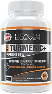 HC Curcuma Organica en Capsulas 1200mg de Curcumina con Pimienta Negra - 180 Cápsulas de Turmeric con Piperina - Antiinflamatorio para Articulaciones, Refuerzo del Sistema Inmunológico y Antioxidante