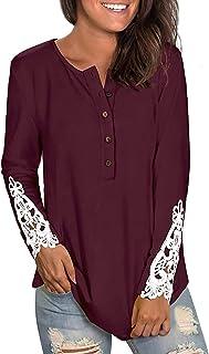 قمصان نسائية طويلة الأكمام بأزرار سفلية من الدانتيل للنساء