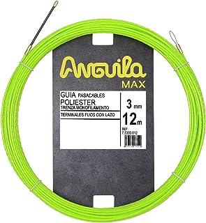 Anguila Max 7.3300.012 Guía pasacables Especial Tubos Poliéster Trenzada Monofilamento 3mm 12 metros y terminales Fijos con Lazo, Verde