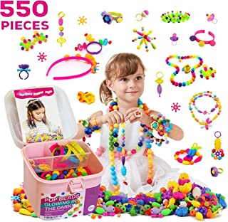TS Yuniku Pop Beads For Kids 550 Pieces, DIY Jewelry Making Kit Arts And Craft for Girls Age 3, 4, 5,6,7,8 Glowing in the ...