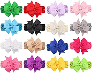 """Baby Headbands Turban Knotted, Girl's Hairbands for Newborn,Toddler and Childrens (4"""" Bow 16-pack)"""