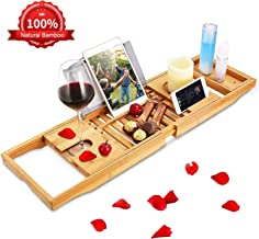 BRITOR Bathtub Caddy Trays - Premium Bamboo Bath Trays with Extending Sides, Reading Rack, Tablet Holder, Cell Phone Tray and Luxury Wine Glass Holder