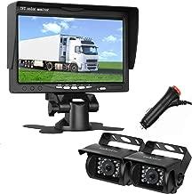 LeeKooLuu HD 720P Dual Backup Cameras and 7'' TFT Monitor System for RV/Van/Trailer/Truck/SUV/Bus/Motorhome IP68 Waterproof Night Vision Plug to Cigaratte Lighter/Single Power