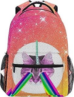 MAHU Backpack Rainbow Unicorn Cat Animal Adults School Bag Casual College Bag Travel Zipper Bookbag Hiking Shoulder Daypack for Women Men