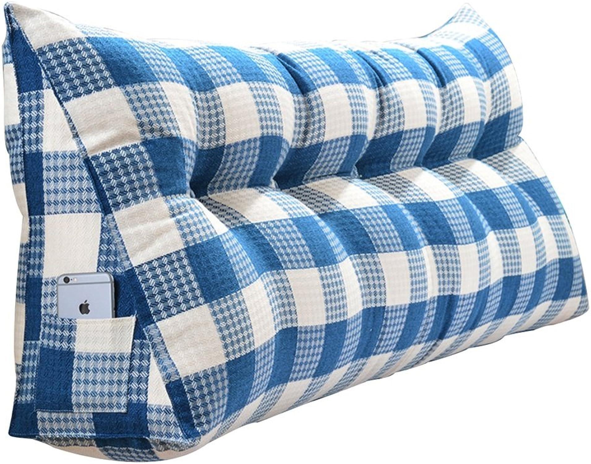 Coussins lombaires Oreillers Grand coussin Triangulaire Lit moelleux Bleu Coussin double pour couple Coussin pour canapé Remplissage EPE Facile à démonter et à laver ( Taille   1205020 )